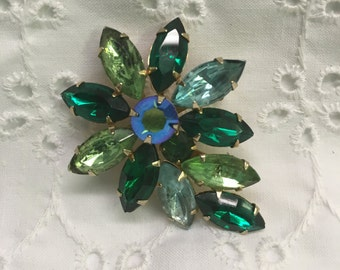 GREEN RHINESTONE Marquise BROOCH~Big Beautiful Sparkly Fower Brooch~vintage, Marquise shaped crystals