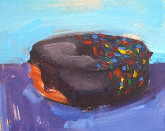 Chocolate Frosted Donut- Original Still Life Oil Painting