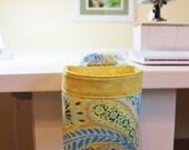Thread Catcher / Scrap Caddy / Pincushion / Dena Designs fabric Aqua Palette