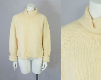 80s 90s Vintage Soft Lambswool Angora Turtleneck Sweater. Oversized Sweater. Deadstock (S, M, L)