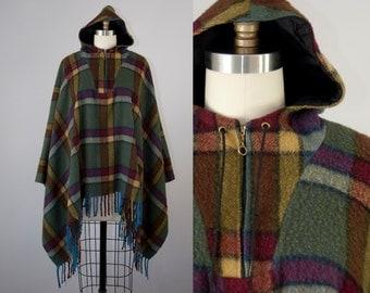 1970s Plaid Wool Hooded Cape. 70s Fringe Poncho (S, M, L)