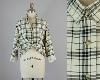 1980s Vintage Black Plaid Button Down Collared Cropped Shirt. 80s Slouchy Flannel Top (S, M, L)