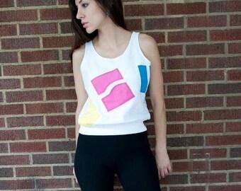 SALE 60% OFF 80s Vintage Loop Terry Color Block Tank Sweatshirt (XS, S, M)