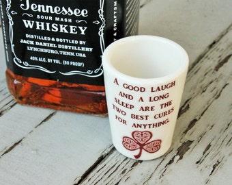 Irish proverb shot glass WHISKEY St Patrick's Day