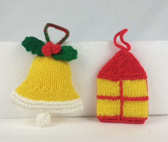 Knitted christmas bell and lantern ornaments by catpenfold for Knitted christmas bells