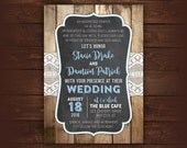 Rustic Lace Wedding Invitation, Wood Printable Wedding Invitation, Country Wedding Invitation with RSVP, any color, free customizations