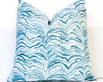 Aqua Blue Abstract Tiger Stripe Decorative Designer Pillow Cover accent throw cushion watercolor tie dye boho ombre azure spa water stripes