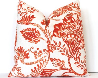Orange Batik Designer Decorative Pillow Cover modern rust cinnamon floral ikat fall country rustic cabin pumpkin boho carrot tangerine