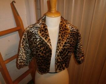 Vintage Faux Leopard Jacket, child  size 4-5T , circa 1940's