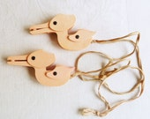 Vintage Pink Bird Shaped Crib Blanket Clips - Pair - Baby Shower Gift - with Original Ribbon Tie-ons - Mid-Century 1940s 1950s