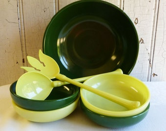 Vintage Hazel Atlas Salad Set - Serving Bowl, Four Small Bowls, Salad Fork and Spoon - Green and Chartreuse - Mid-Century 1950s