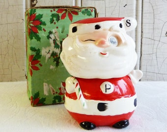 Winking Santa Stacking Salt and Pepper Set with Original Box - Commodore - Made in Japan - Mid-Century 1960s - Vintage Christmas Decor
