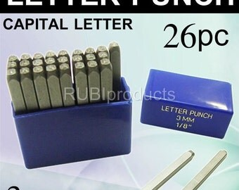 3mm Capital Letter Punch Stamp Set 27pc A-Z Steel- Metal- Silver- Gold UPC3