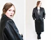 Vintage Vtg Vg 1980's 80's Full Length Black Leather Jacket Matrix Raver Sleek Unisex Adults Size Medium Retro Coat Fall Winter Hipster