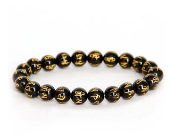8mm Black Agate Six Words True Mantras Prayer Beads Wrist Mala Bracelet  T2686