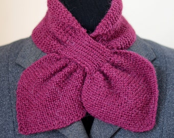 40s style knitted alpaca bow scarf, blackberry purple
