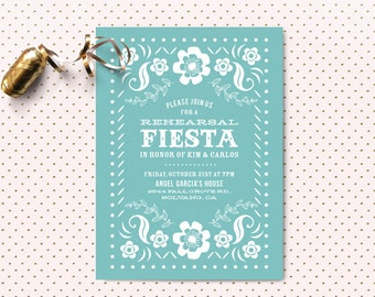 Fiesta Rehearsal Dinner Invitation - Papel Picado - Mexican Banner