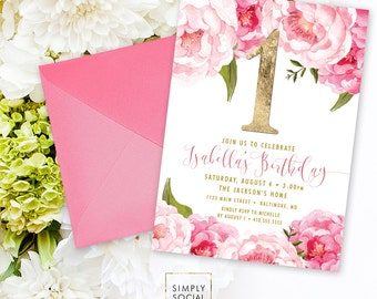 First Birthday Party Invitation - Pink Peony Ranunculus and Faux Gold Foil Watercolor Floral Boho 1st Birthday Printable