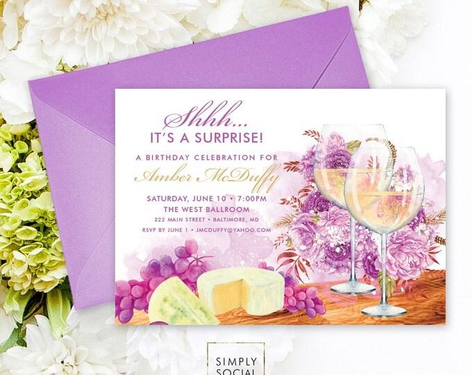 Wine Surprise Birthday Party Invitation - Wine Tasting Invitation Surprise Party Invite Wine and Cheese Party Wine Printable Invitation