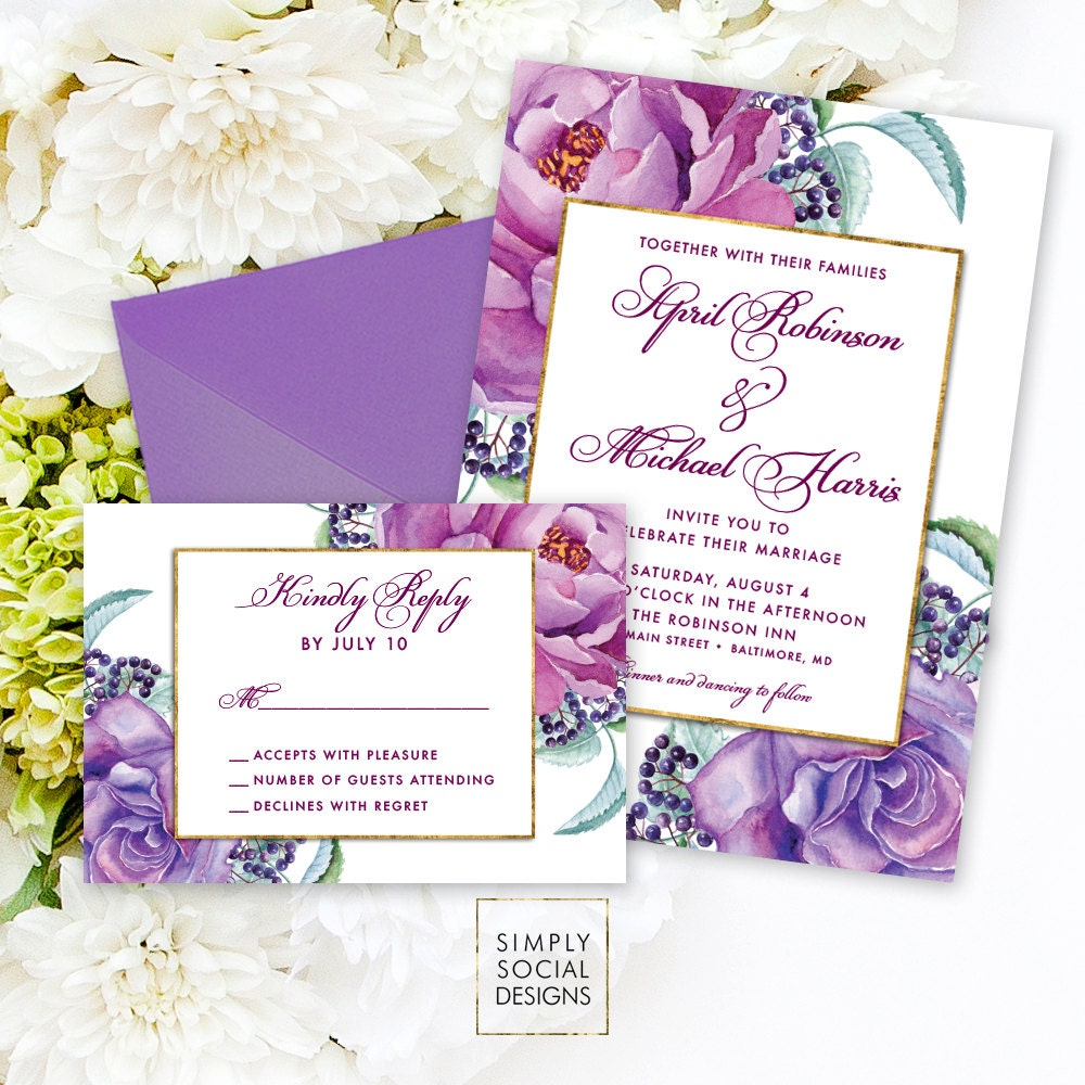 Purple Wedding Invitations: Purple Floral Wedding Invitation Suite By SimplySocialDesigns