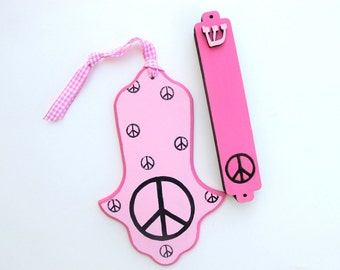 Hamsa and mezuzah set , pink and black peace sign, decorative hand painted jewish gift for girls room, kids wall art