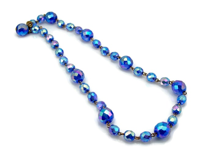 1950s Blue Aurora Borealis Crystal Necklace