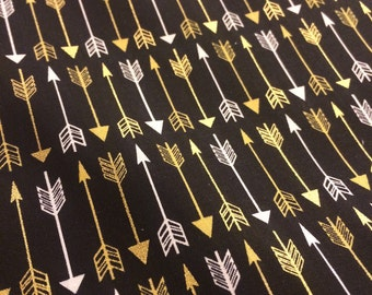 Gold Arrows on Black - Cotton Quilting - Fabric-14 inches
