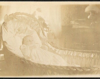 GHOSTLY BABY In CRIB Baby In wicker weave baby basket swing crib Antique ghostly effect postcard real photo, Photograph Post card