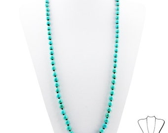 Trendy Knotted Turquoise Beaded Necklace