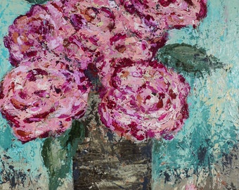 "Flowers, canvas, painting, abstract art, Refreshed, 3/4"" thick canvas"