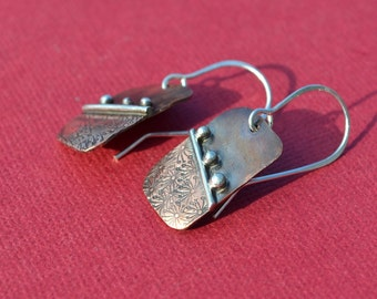 Wishes - Copper and Sterling Silver Earrings
