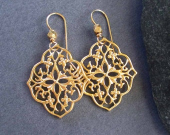 On Sale : Gold Flower Earrings Gold Filigree Earrings Gold Dangle Earrings Exotic Jewelry
