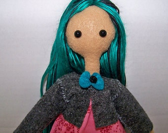 Tilda - 11.5inch (28cm) felt tilda-style doll with black and teal yarn hair, non-removable outfit