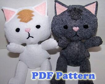Felt Kittens, Felt Pattern, Doll Pattern, Plush Pattern, Felt Doll Pattern, Felt Cat Pattern, Felt Kitten Pattern, PDF Pattern
