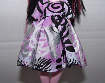 Handmade Monster High doll clothes - light pink with black and silver design dress