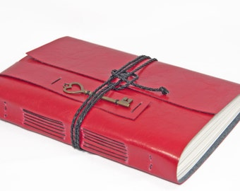 Large Faux Leather Journal with Key Charm - choice of colors - choice of paper - blank - lined - custom