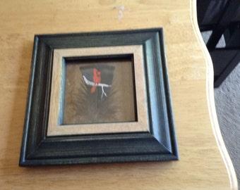 Painted turkey feather painting Cardinal bird wildlife art framed