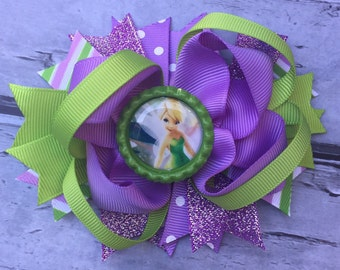 NEW ITEM Boutique Baby Girls Layered Tinker Bell Hair Bow Clip Tinkerbell Hair Bow Tinkerbell Hair Clip Tinkerbell Birthday Bow
