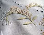 Hand-Embroidered Round Table Linen - Delicate Leaf Motif, Cut Work, French Knots, Scalloped Edge - Palest Sage Green and Lemon Yellow