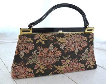 1960s Dover Black Tapestry Handbag