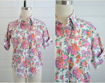 1960s Pink Floral Button Front Shirt