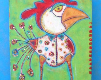 Chicken Billy, Original Acrylic Painting on Wood, Folk Art, Outsider Art, Wall Decor, by Fig Jam Studio