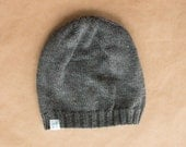 Knit Wool Ladies Hat - Slouchy Grey - Ready to ship