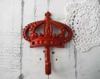 red crown hook rustic red hook coat hook clothing hook nursery decor french country jewelry hook cast iron hook farmhouse decor