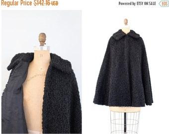 SALE / antique ladies black curly wool winter cape - faux Persian lamb cape / Victorian outerwear - gothic coat / Edwardian vampire cloak -