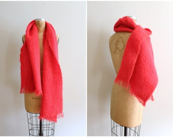 vintage 50s neon orange scarf - Scottish mohair blanket shawl / Scotland scarf - extra wide scarf / 1950s tangerine mohair scarf