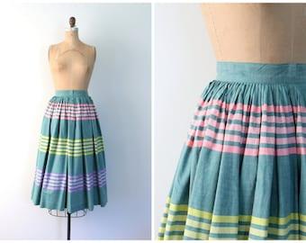"darling 1950s striped circle skirt - 124"" full sweep - tea length / Sweet Kawaii - pastel rainbow stripes / Loilta - summer - ladies xs"