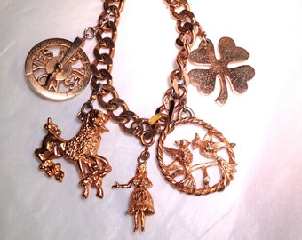 Vintage Monet Chunky Charm Bracelet French Fashion Poodle Jewelry Rare Beauty