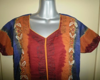 Vintage Cotton Tunic Dress with Hand Embroidery Tribal Dress Hippie Tunic Boho Dress Blue Orange Magenta