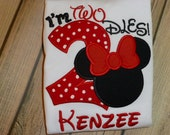 Minnie Mouse Girls Im TWOdles in Red/White T shirt or Bodysuit with Free Personalization